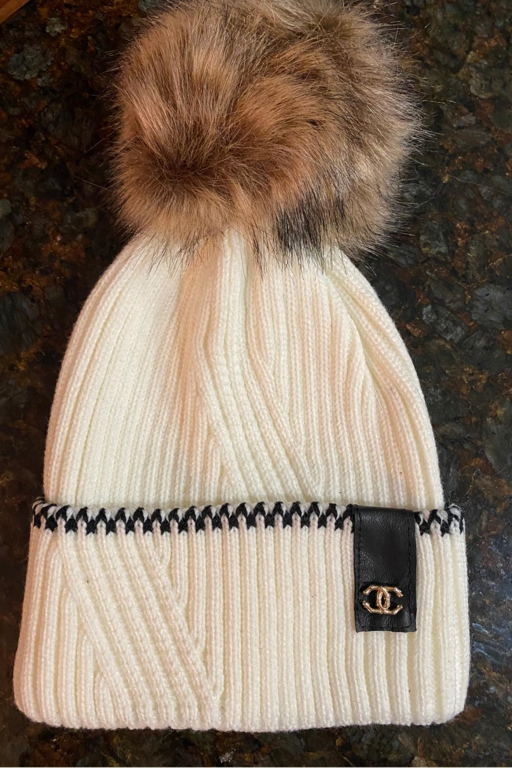Embellish Chanel Detail Knit Beanie - Main Image