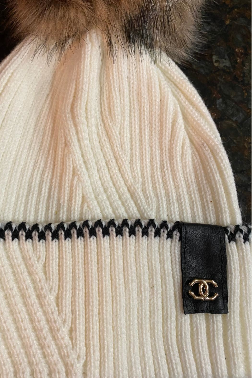 Embellish Chanel Detail Knit Beanie - Front Full Image