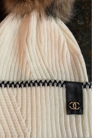 Embellish Chanel Detail Knit Beanie - Front full body