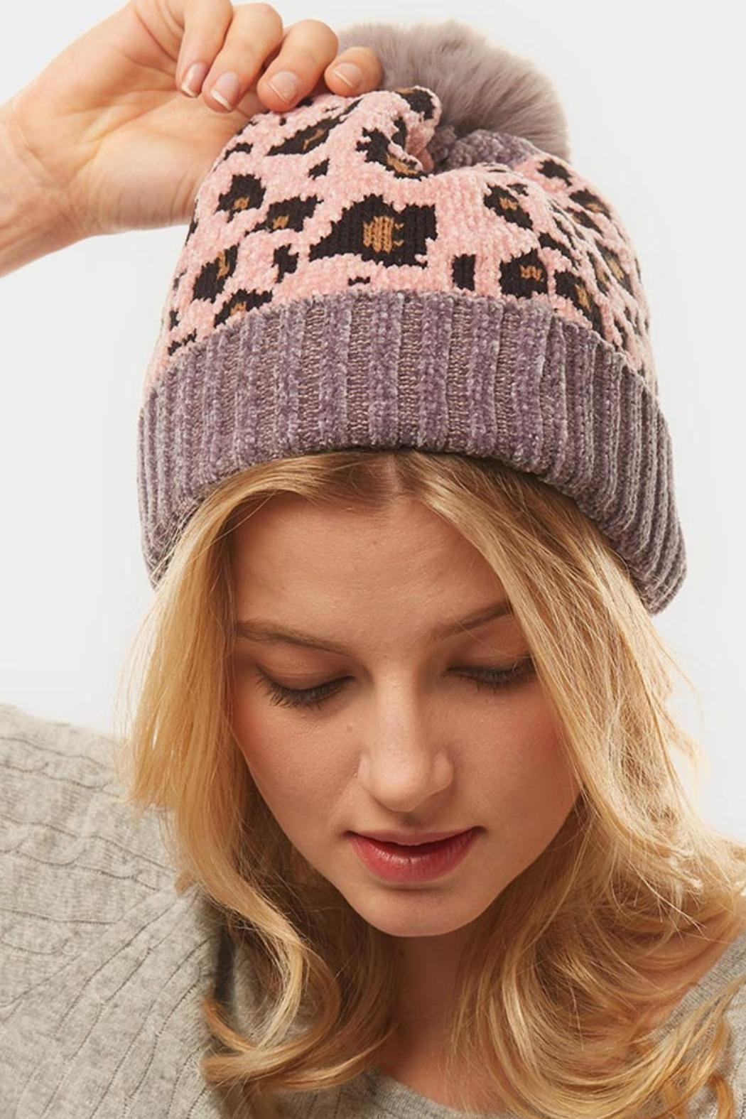 Embellish Chenille Leopard Hat - Front Cropped Image