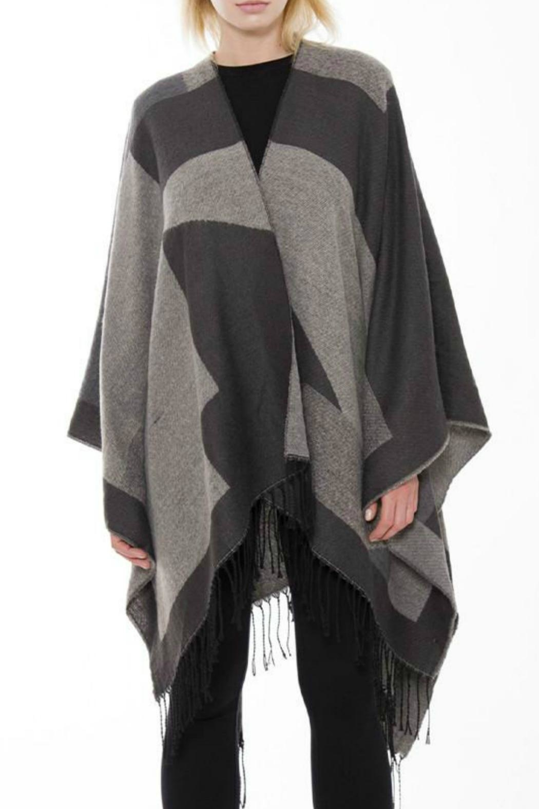 Embellish Colorblock Fringe Shawl - Main Image