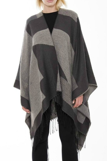 d6751b87838 Check Cashmere And Wool Poncho Aubergine Burberry