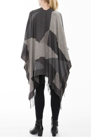Embellish Colorblock Fringe Shawl - Front full body