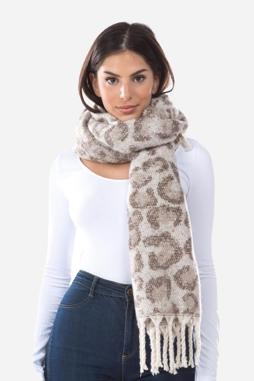 Embellish Cozy Animal Print Scarf - Front Cropped Image