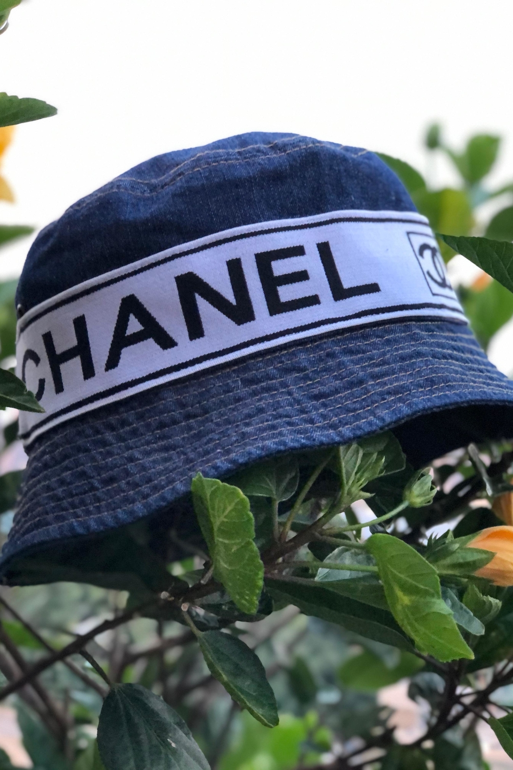 Embellish Denim Bucket Hat Chanel Inspired - Front Cropped Image