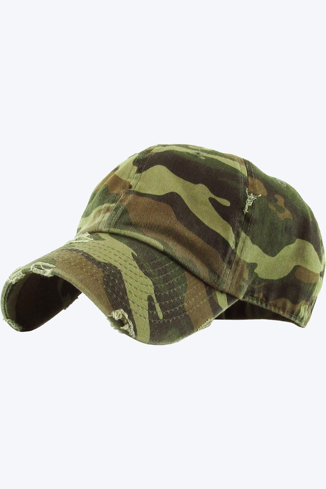 Embellish Distressed Camo Cap - Front Cropped Image