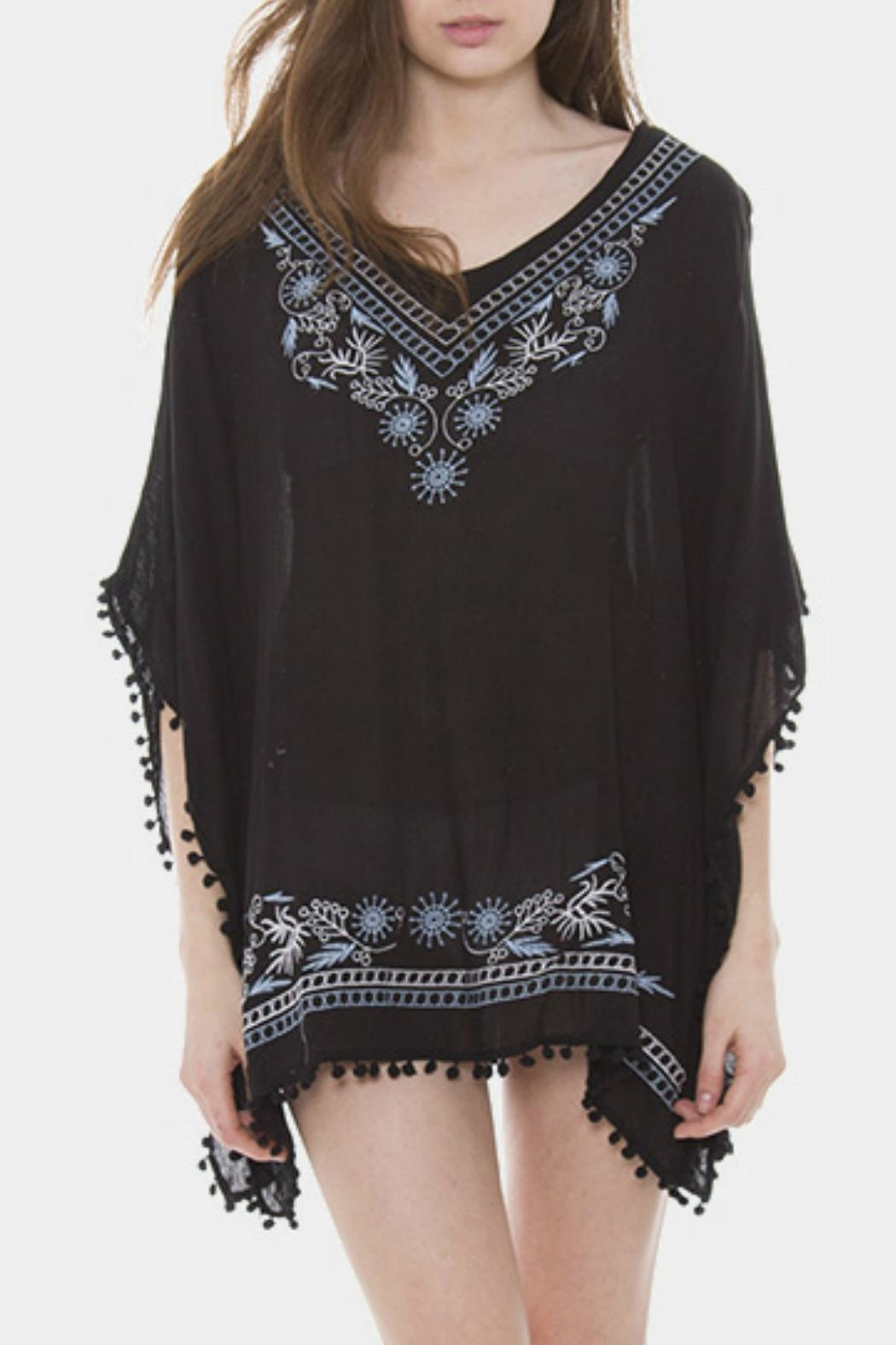 Embellish Embroidered Pom Poncho - Main Image