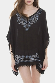 Embellish Embroidered Pom Poncho - Front cropped