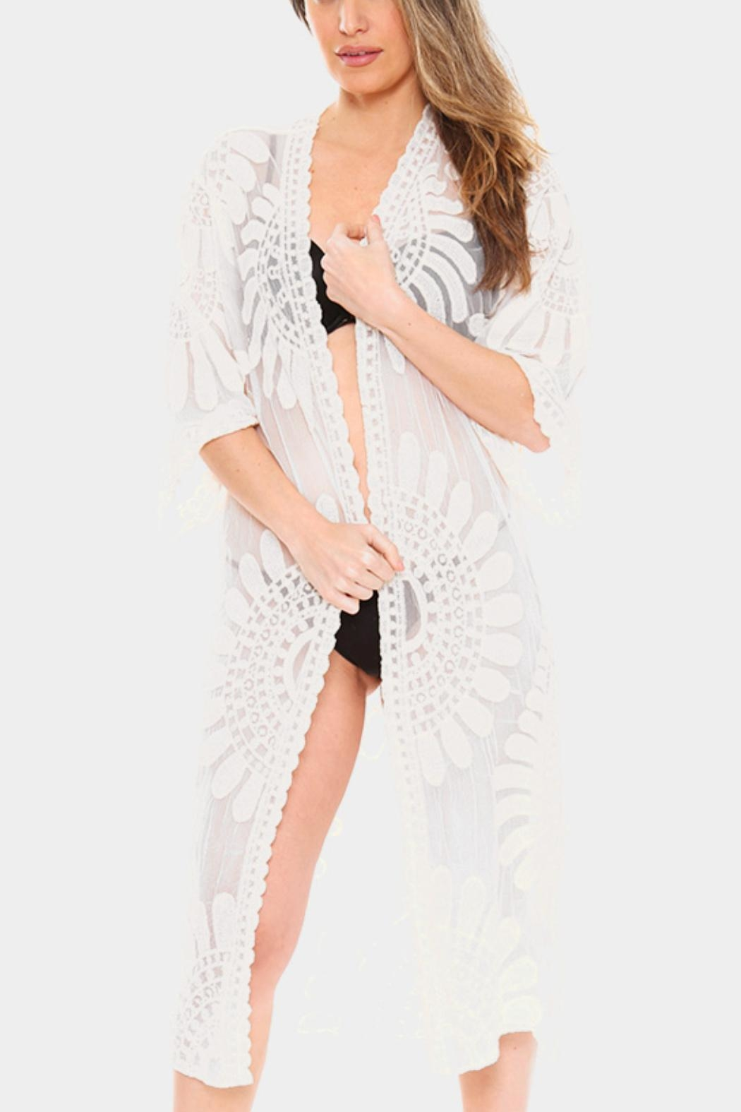 Embellish Flower Lace Coverup - Front Cropped Image