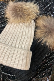 Embellish Fur Pom Beanie - Front cropped