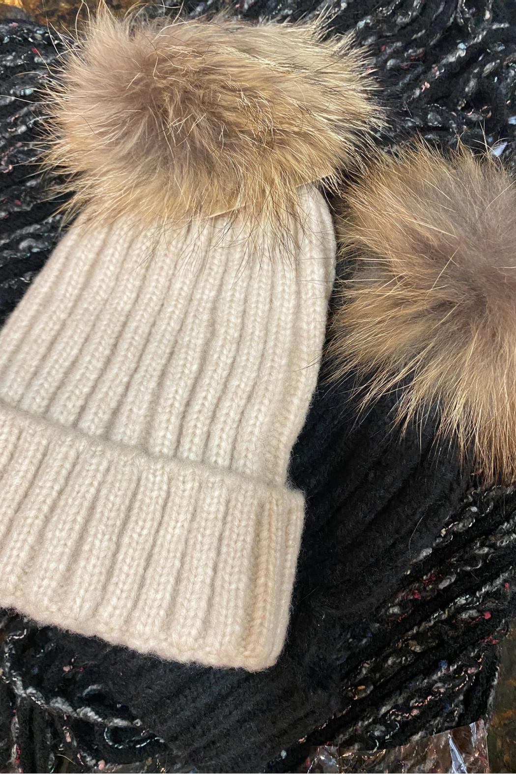 Embellish Fur Pom Beanie - Front Cropped Image