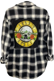 Embellish Guns And Roses Flannel Button Down Shirt - Product Mini Image