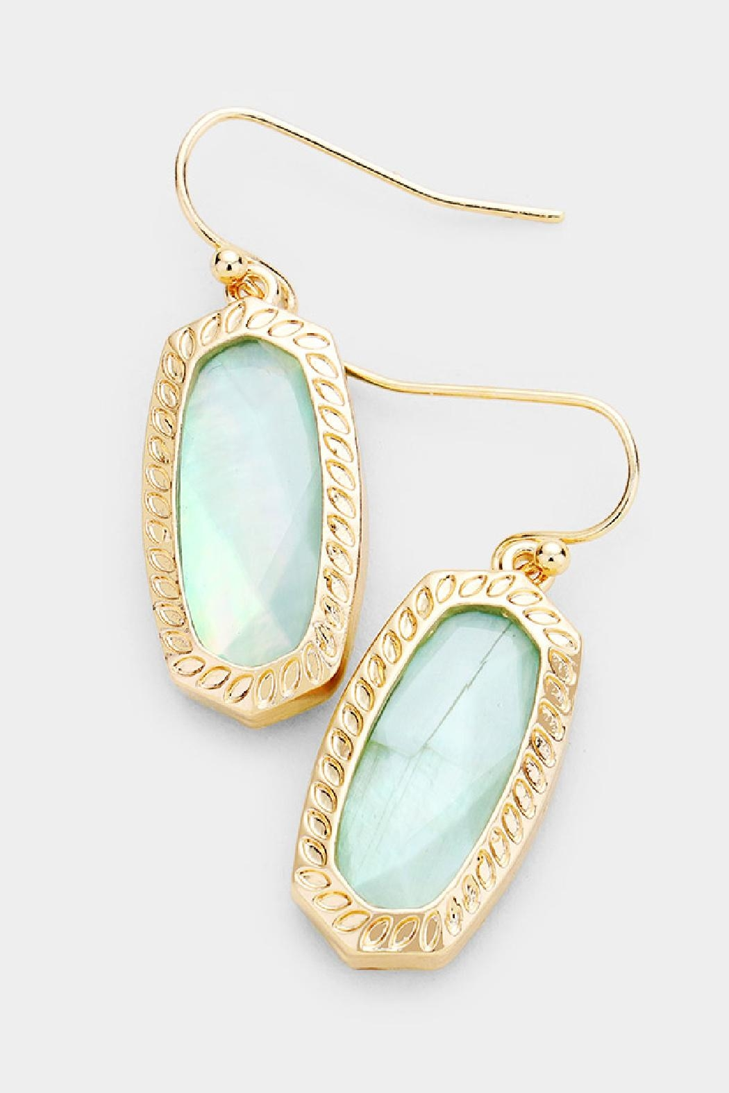 Embellish Hexagon Stone Earrings - Front Cropped Image