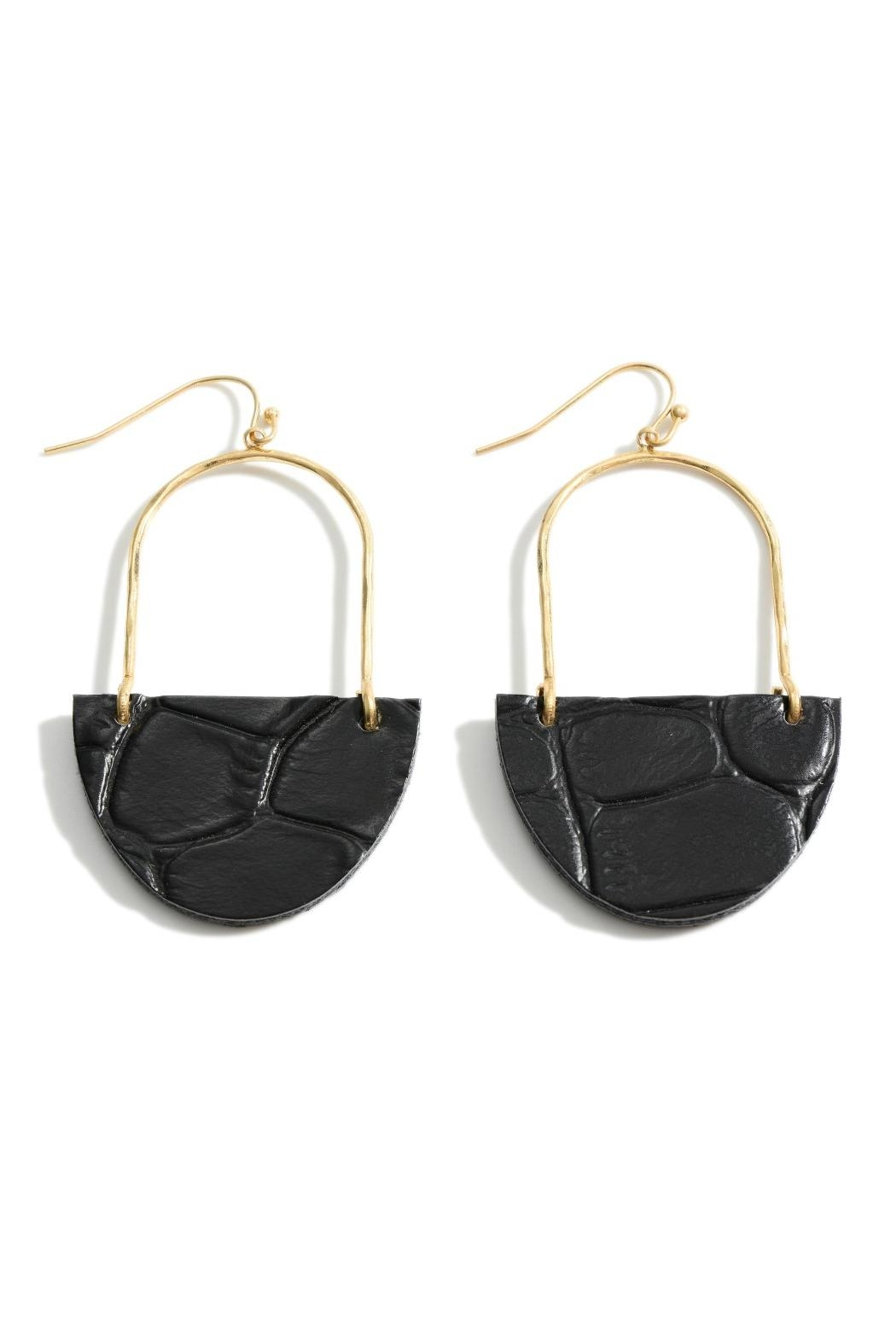 Embellish Leather Drop Earrings - Front Cropped Image