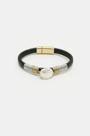 Embellish Leather Pearl Bracelet - Product Mini Image