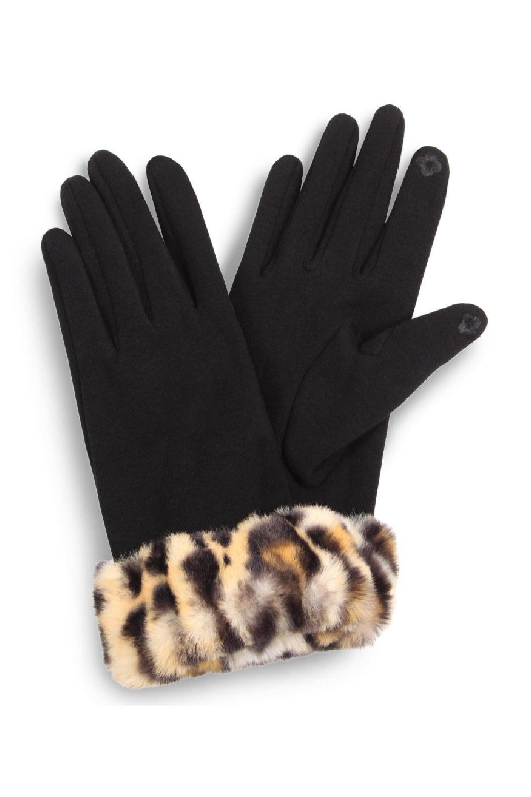 Embellish Leopard Faux Fur Texting Gloves - Main Image