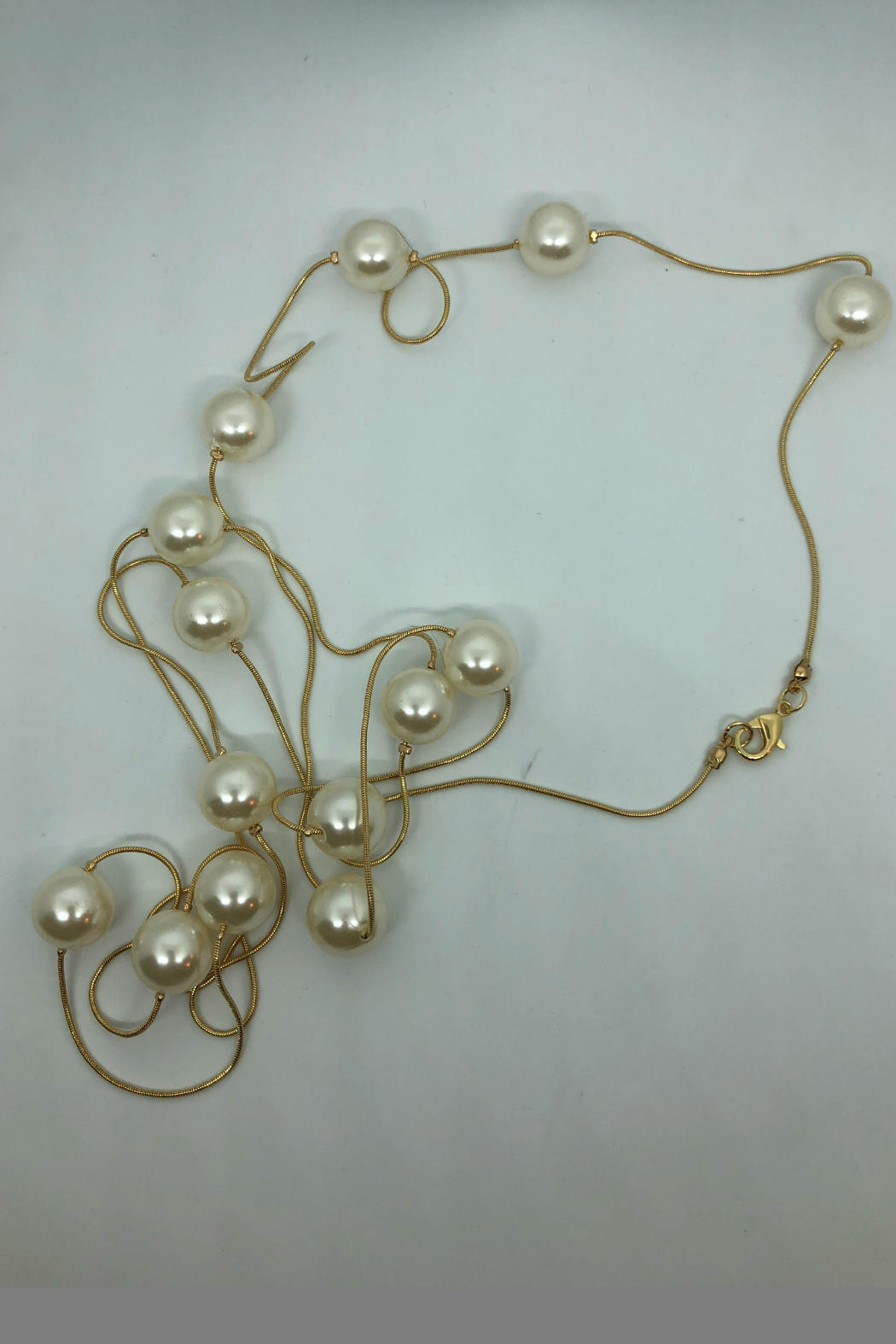 Embellish Long Pearl Necklace - Front Full Image
