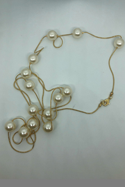 Embellish Long Pearl Necklace - Front full body