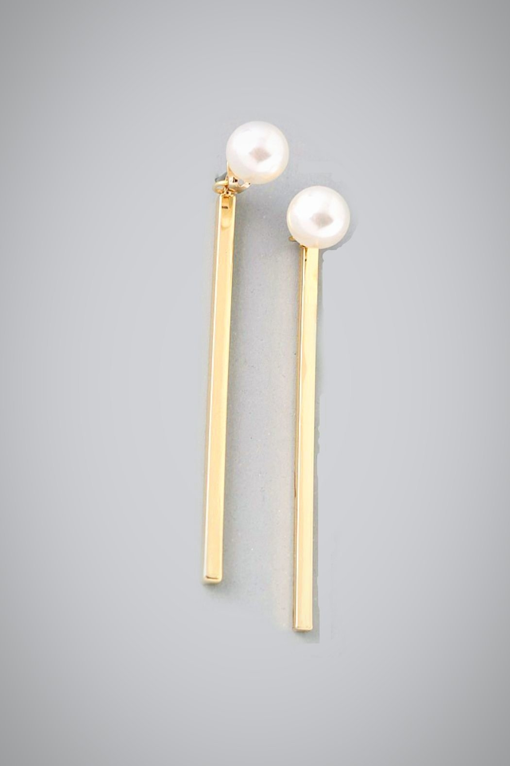 Embellish Pearl Bar Earrings - Front Cropped Image