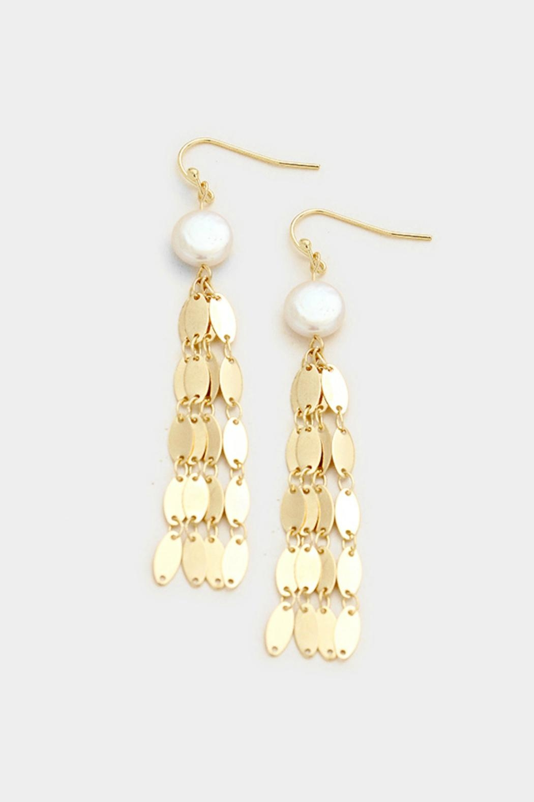 Embellish Pearl Fringe Earrings - Front Cropped Image