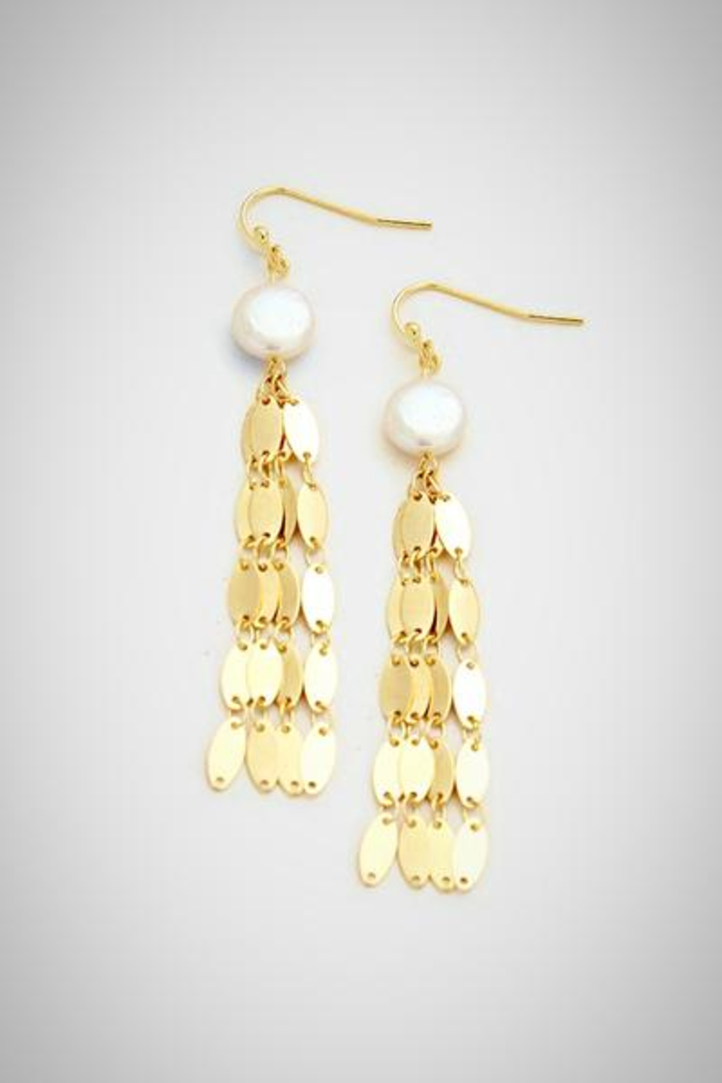 Embellish Pearl Fringe Earrings - Front Full Image