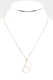 Embellish Pearl Initial Necklaces - Front full body