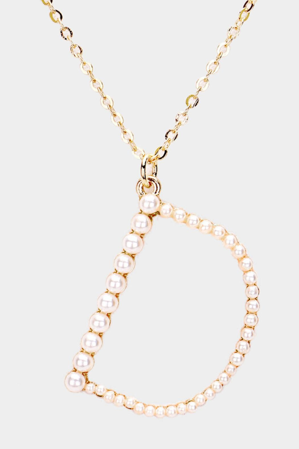 Embellish Pearl Initial Necklaces - Back Cropped Image