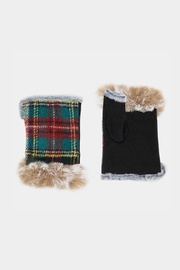 Embellish Plaid Fingerless Gloves - Front cropped