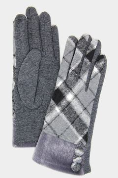 Embellish Plaid Texting Gloves - Alternate List Image