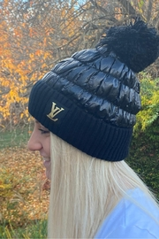 Embellish Quilted Lv Inspired Beanie - Front cropped