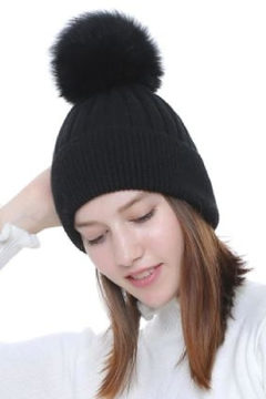 Shoptiques Product: Real Fur Pom Beanie