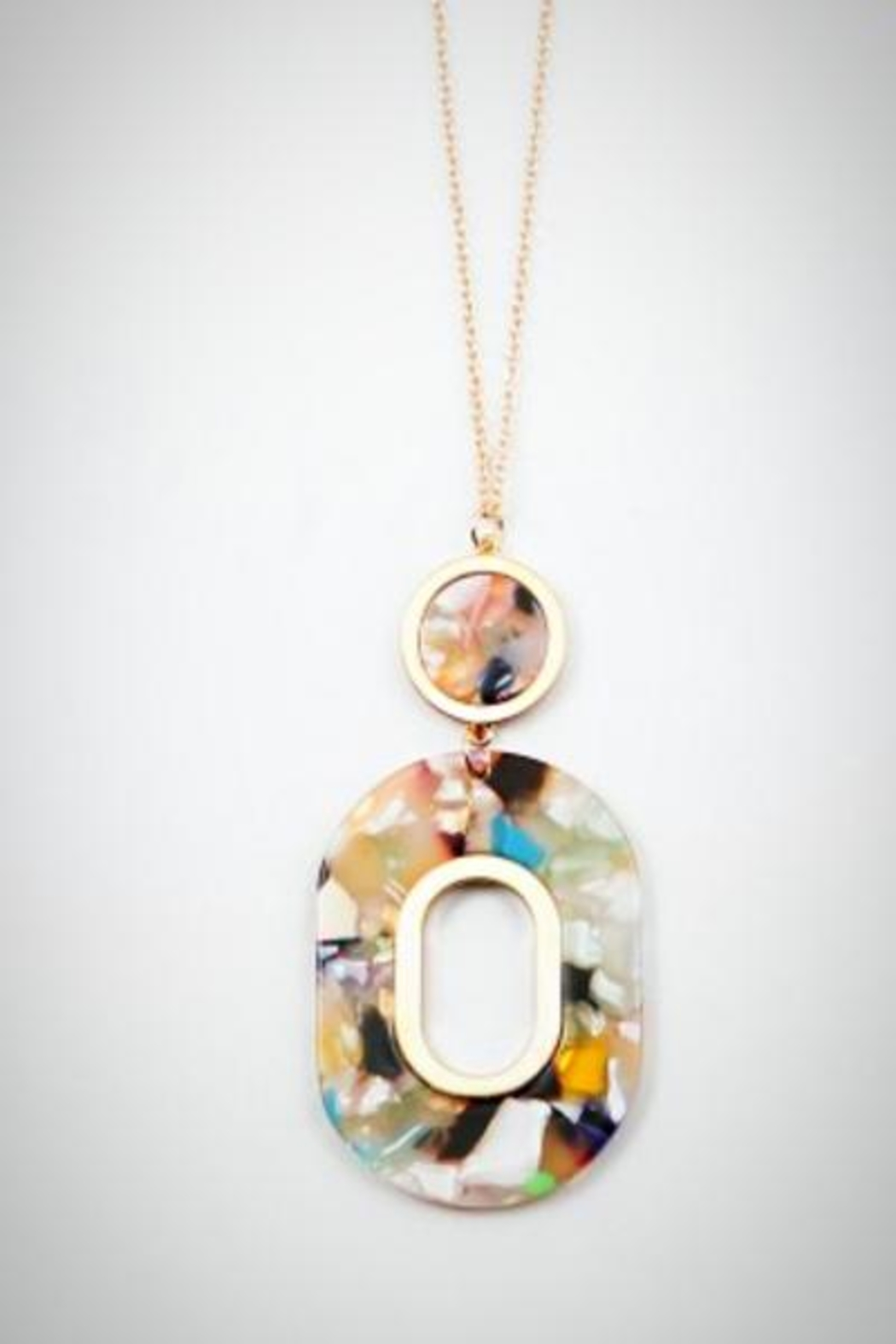 Embellish Resin Cream/multi Necklace - Front Cropped Image