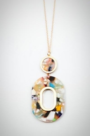 Embellish Resin Cream/multi Necklace - Front cropped