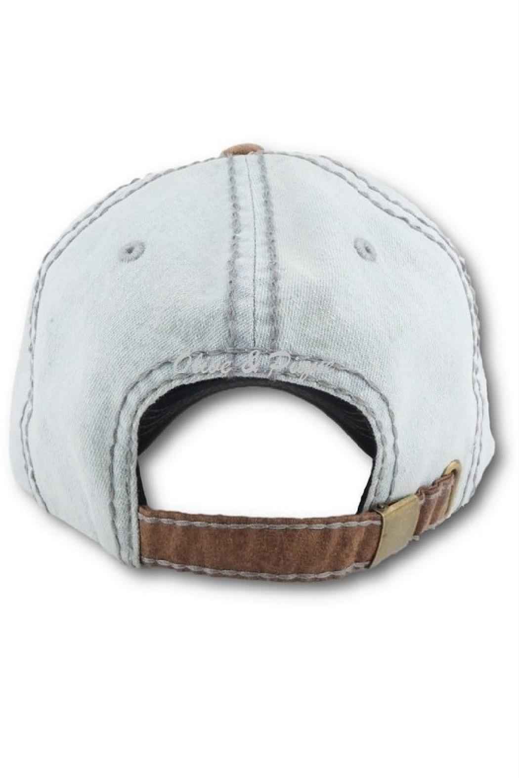 Embellish Rock 'n Roll Up-Cycled Denim Cap - Front Full Image