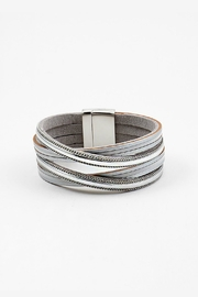 Embellish Silver Leather Bracelet - Product Mini Image
