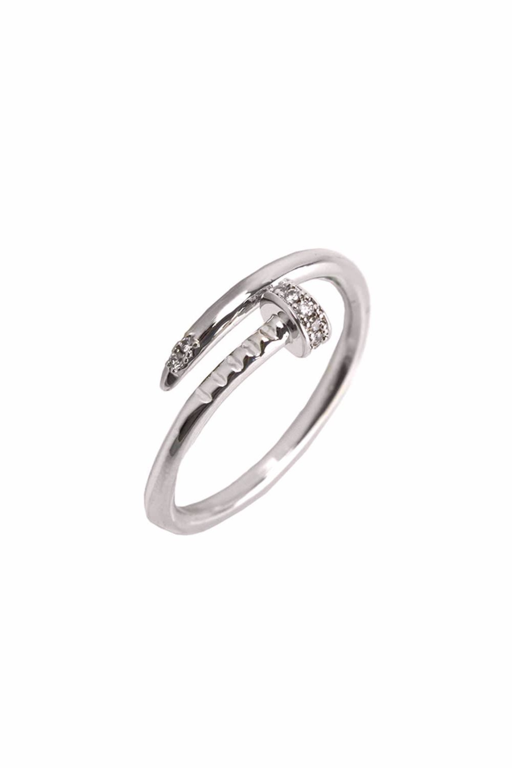 Embellish Silver Nail Ring - Front Cropped Image