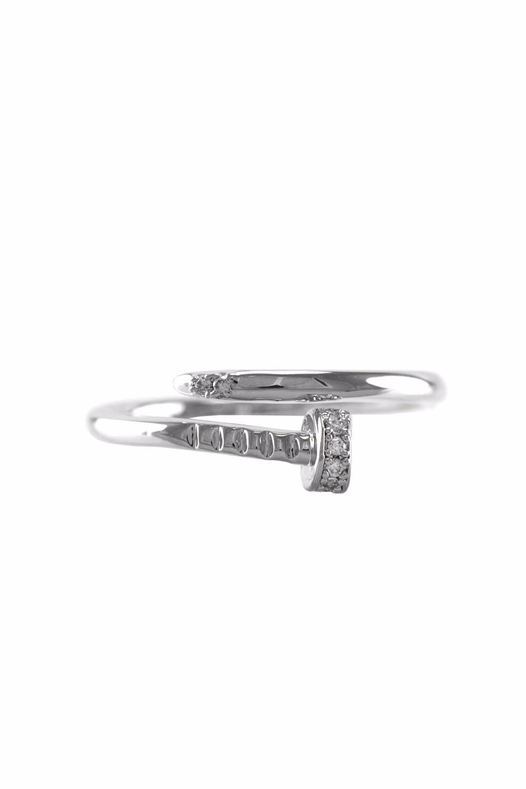 Embellish Silver Nail Ring - Front Full Image