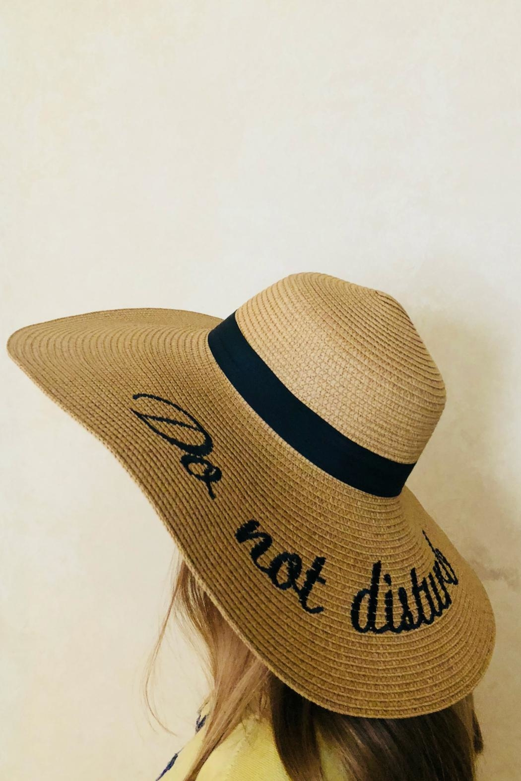 Embellish Straw Embroidered Hat - Front Full Image
