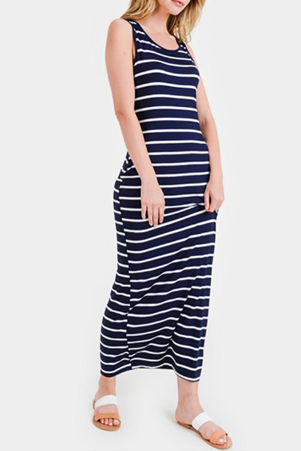 Embellish Striped Maxi Dress - Front Cropped Image