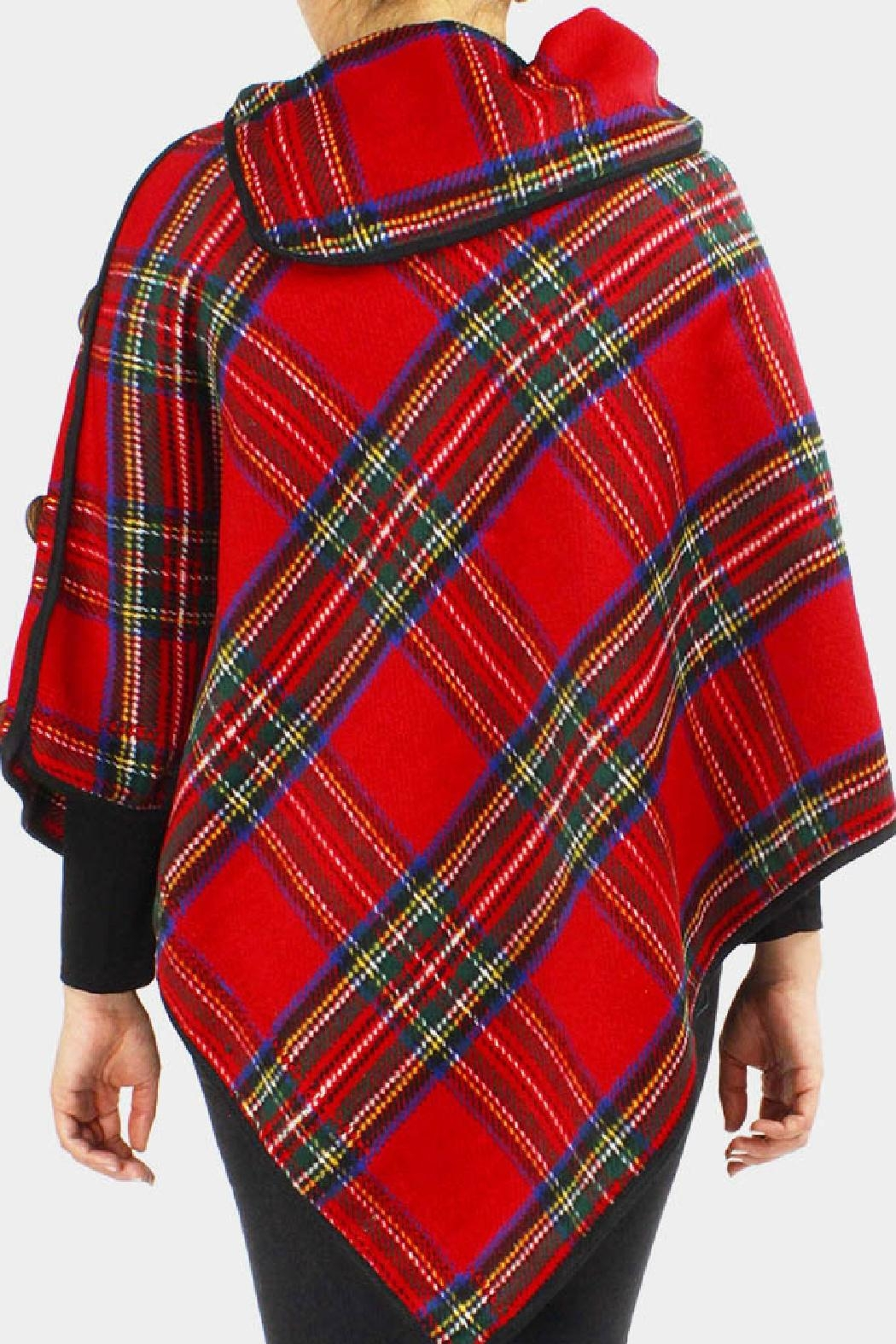 Embellish Tartan Plaid Poncho - Front Full Image