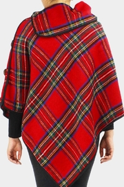 Embellish Tartan Plaid Poncho - Front full body