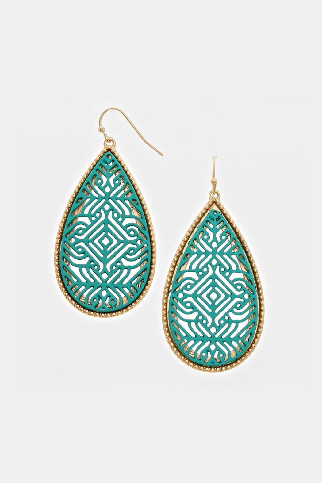 Embellish Teal Cutout Earrings - Main Image