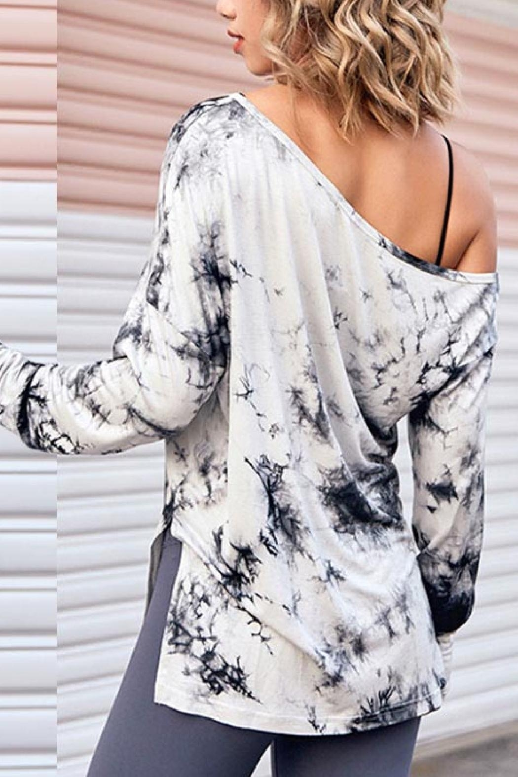 Embellish Tie Dye Tunic Lounge Top - Front Full Image
