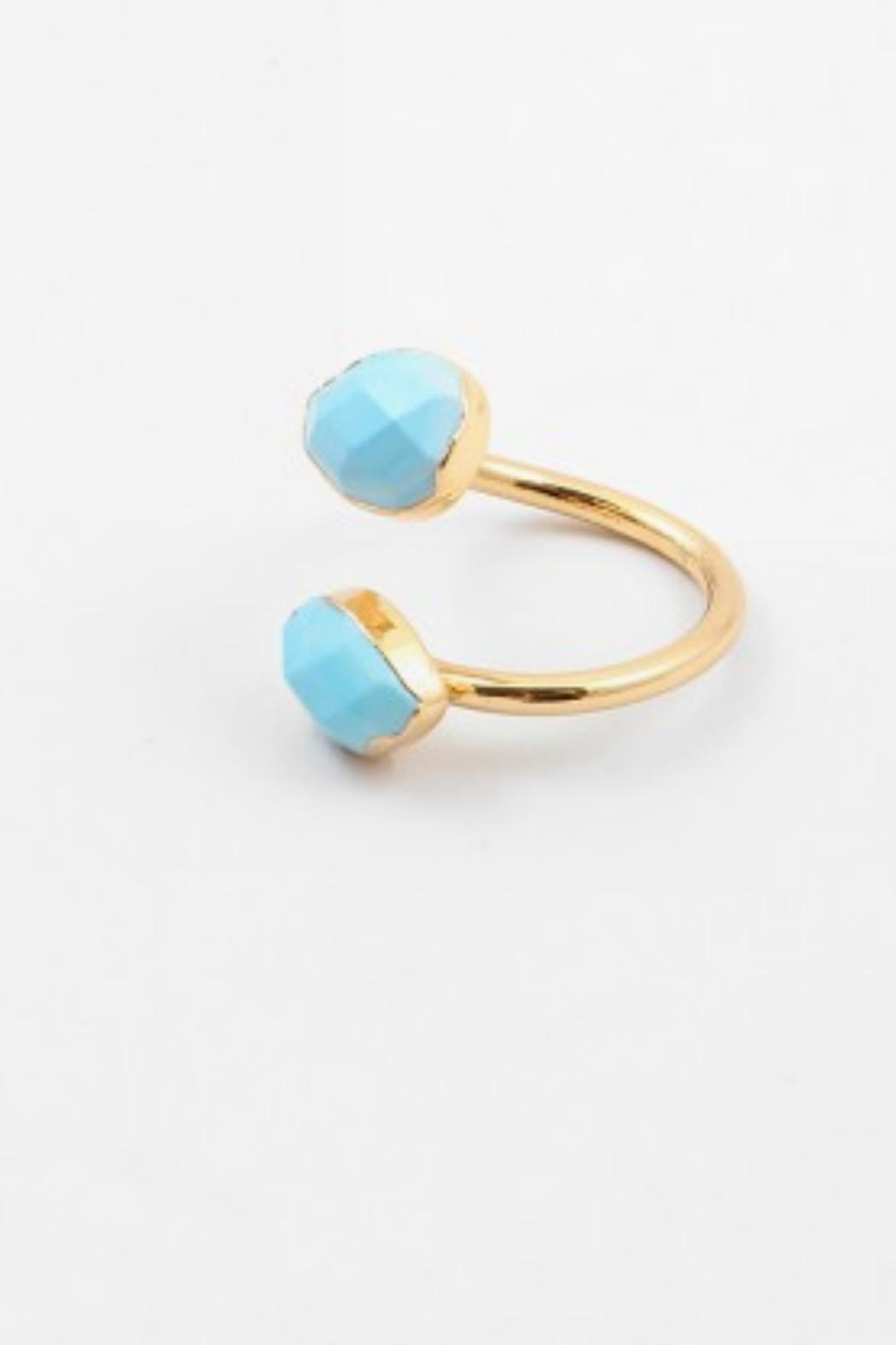 Embellish Turquoise Gold Ring - Front Full Image