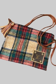 Embellish Upcycled With Auth Lv Patch 3 Way Tartan Plaid Bag - Product Mini Image