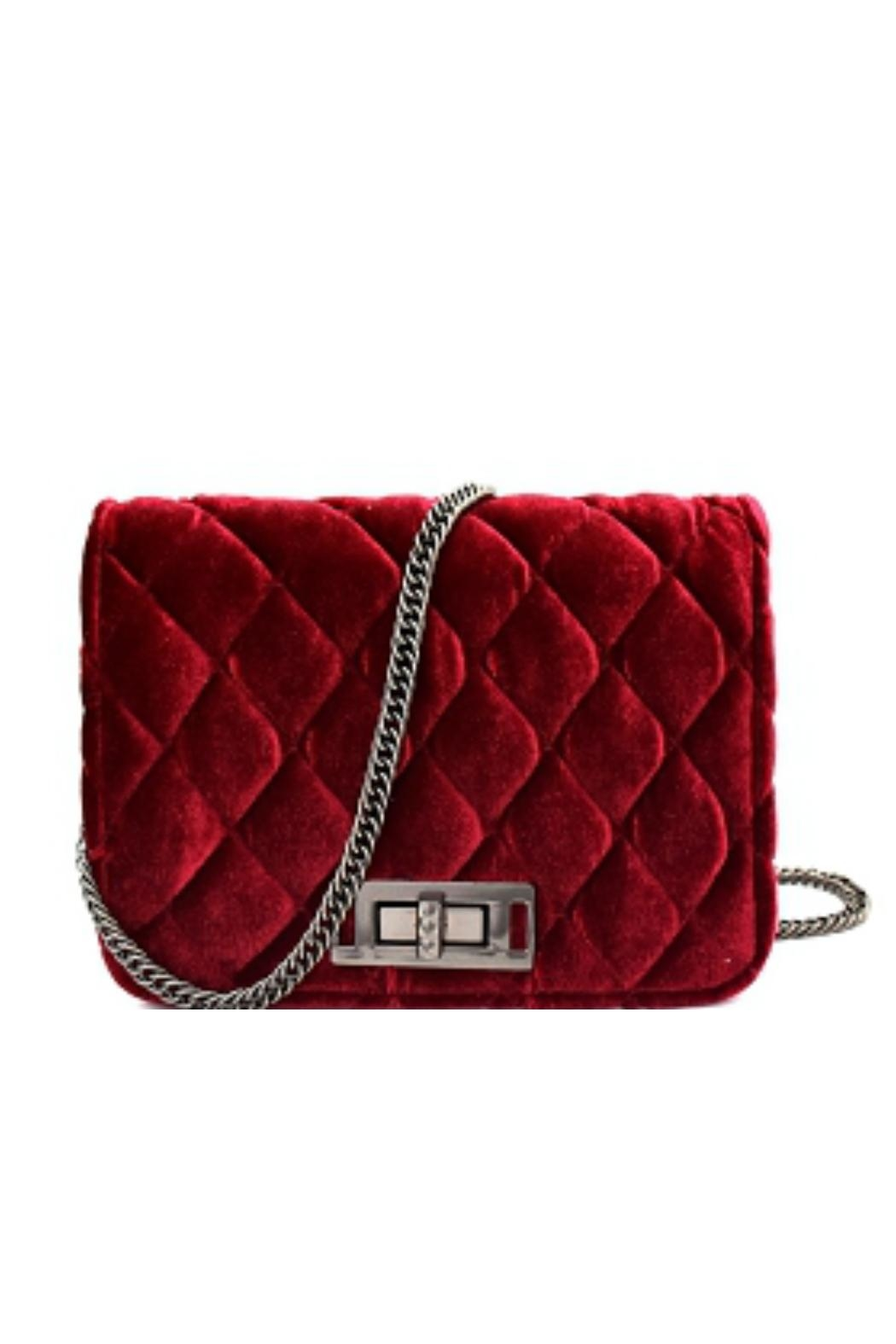 Embellish Velvet Quilted Bag - Front Cropped Image