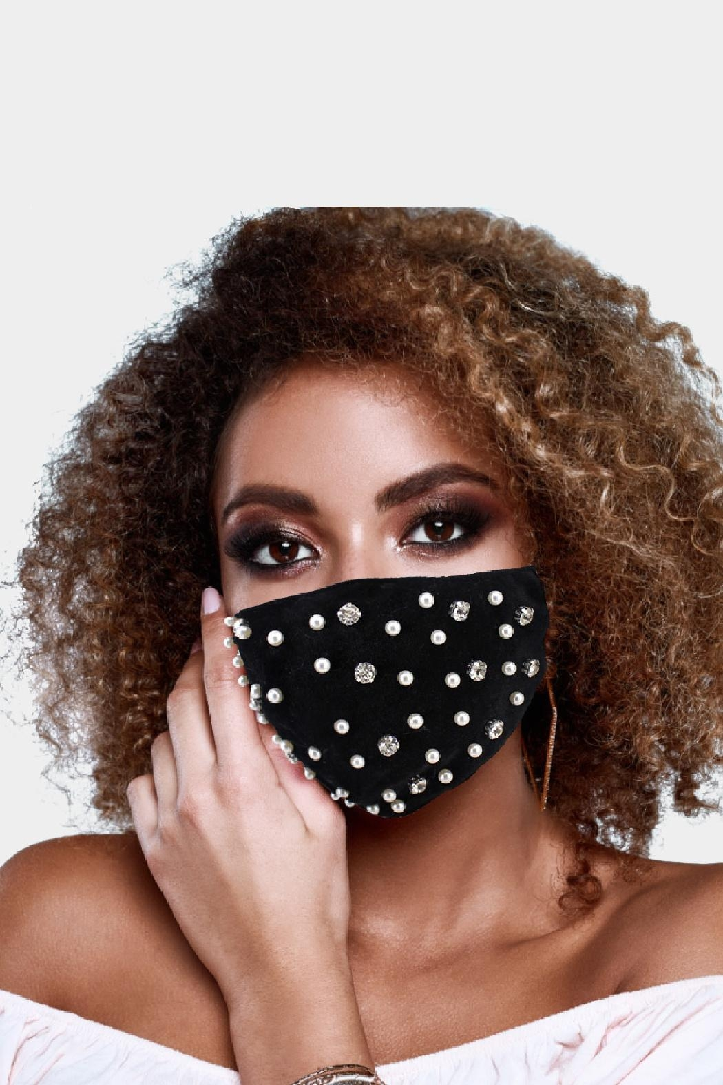 Embellish Velvety Pearl And Crystal Mask - Front Cropped Image