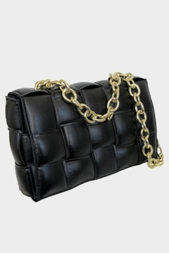 Shoptiques Product: Weave And Chain Black Bag