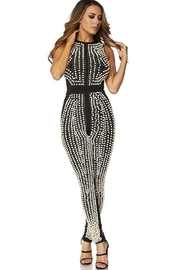 Tiny House of Fashion Embellished 3D Pearl Two Tone Jumpsuit - Product Mini Image