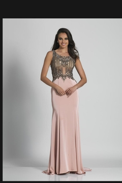 Dave and Johnny Embellished Blush Gown - Product List Image
